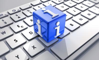 Blauer Infowürfel auf Tastatur
