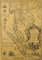 Antique Thailand map from XVII century