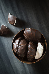 Chocolate-coated Zefir in Small Metal Bowl