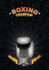 boxing gloves. Template for Championship Awards. boxing Silver c