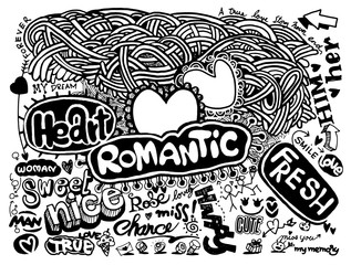 Hipster Love doodles Background,drawing style