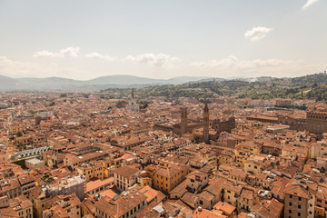Aerial panorama of Florence Duomo dome and rooftops. Tuscany Ita