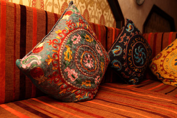 Colorful pillows on the couch
