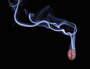 Smoke from coffee bean. Smoky bean