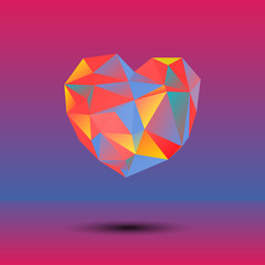 Abstract vector polygonal heart in triangle style