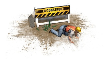under construction sign and drunken construction workers