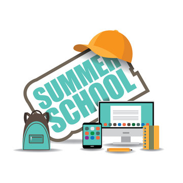 Summer school icon EPS 10 vector