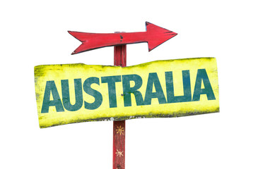 Australia sign isolated on white