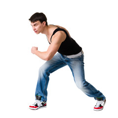 young break dancer showing his skills on white background