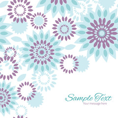 Vector purple and blue floral abstract frame corner pattern