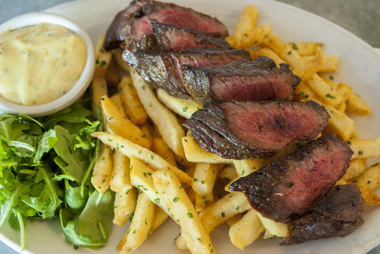 Steak Frites with Red Wine and Salad
