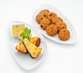 Set of international dishes arranged for catering, studio shot