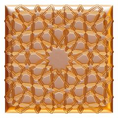 Golden Design elements. Arabesque. 3D illustration.