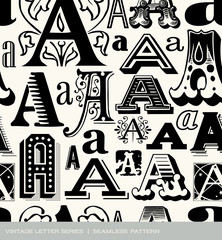 Seamless vintage pattern of letter A