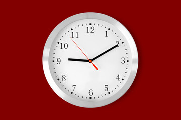 classic clock on red background