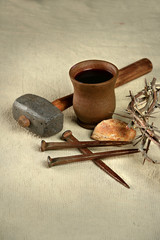 Crown of Thorns and Nails with Communion Elements