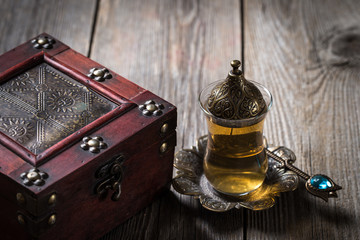 Turkish tea cups on wooden background