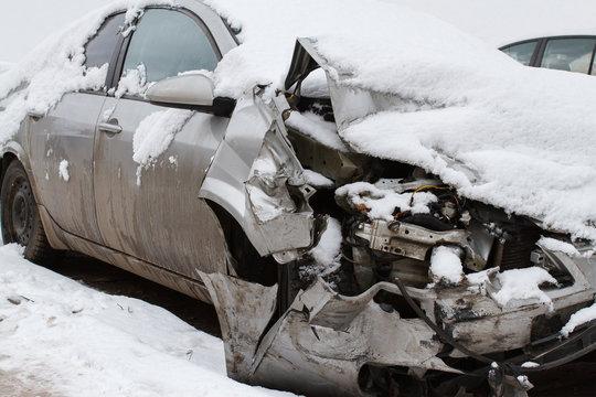 Car crash on winter road