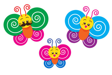 Smile Happy colorful butterfly family on the white background