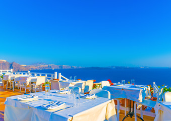 View from a terrace in Oia in Santorini island in Greece