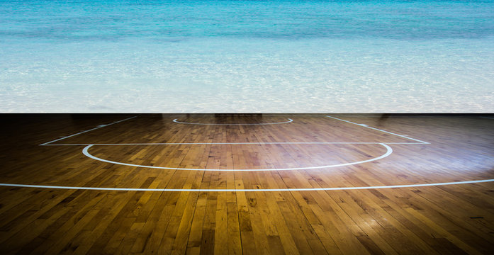 basketball court with clean water sea