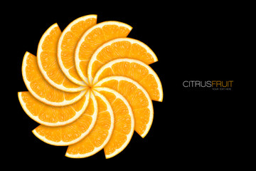 Pinwheel pattern of fresh orange slices