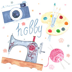Set of watercolor images. Hobby