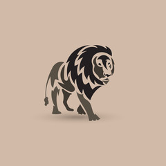 Vector stylized lion icon. Animal logo design.