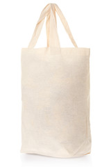Fabric natural canvas bag on white, clipping path