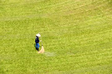 Gardener on grass