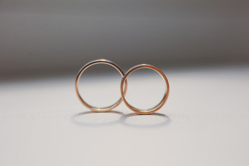 Wedding rings on white background. Luxury jewelry