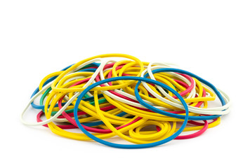Group of color rubber bands isolated on white background
