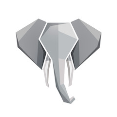 vector origami elephant head icon