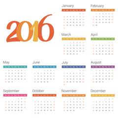 Calendar for 2016 on white background. Vector