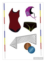 Set of Water Polo Equipment on White Background