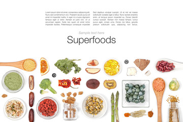 various superfood on white background top view