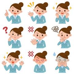 作業着の若い女性の表情セット