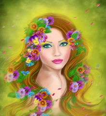 Spring beauty woman fantasy in flowers on hairstyle.