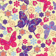 Butterfly and Flower Seamless Pattern - Illustration