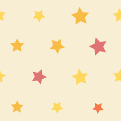 Seamless vintage geometric colorful stars pattern