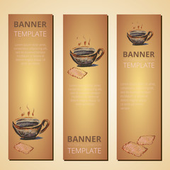 Banners with teapot and cup of tea, tea time, vector