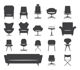 Icon set of silhouette modern chair and sofa