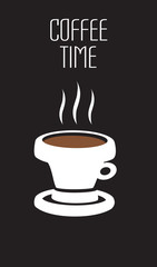 Vector black and white poster with illustration of brown coffee