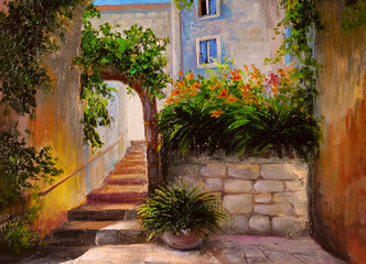 oil painting, street full of flowers, colorful watercolor