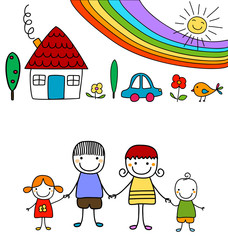 happy family and rainbow