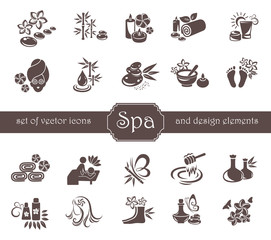 Set of Spa, Zen, Massage, Cosmetic logo and design elements.
