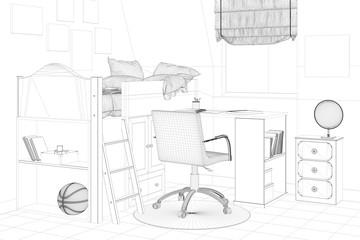 Bilder und videos suchen strichzeichnung for Jugendzimmer zeichnung