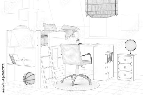 Kinderzimmer In Planung Mit Bett Und Schreibtisch Stockfotos Und