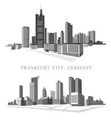 Frankfurt City. Urban panorama. Vector set.