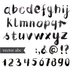 Vector Watercolor Alphabet. Brush font.